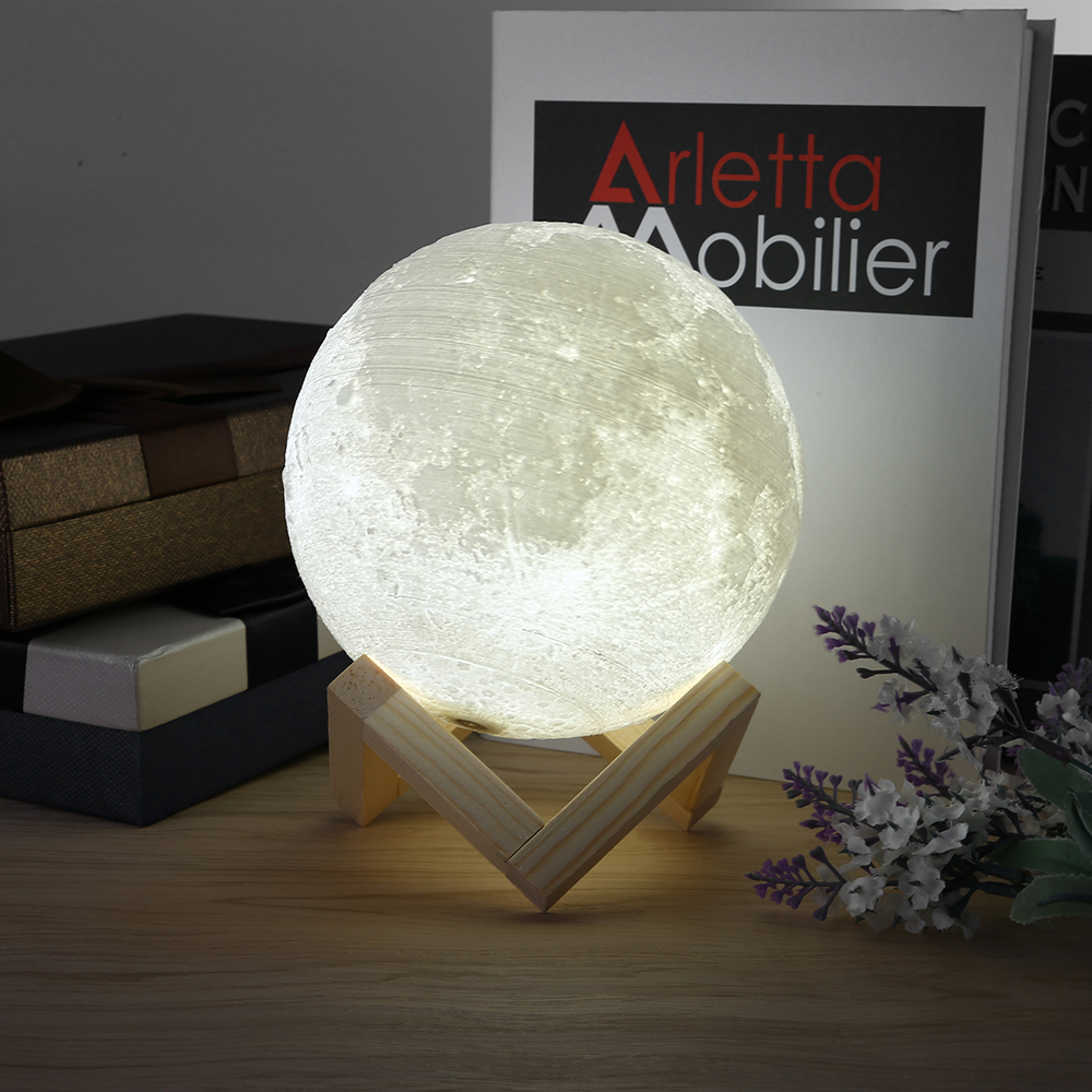 Rechargeable LED Night Light Moon Lamp 3D Print Moonlight Luna Bedroom Home Decor 2 Colors Touch Switch New Year Gift for Baby 9
