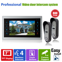 Homefong HD 2XOutdoor Doorbell Camera and 1X7inch LCD Indoor Display Monitor Color Video Door Phone Home Video Intercom Systems