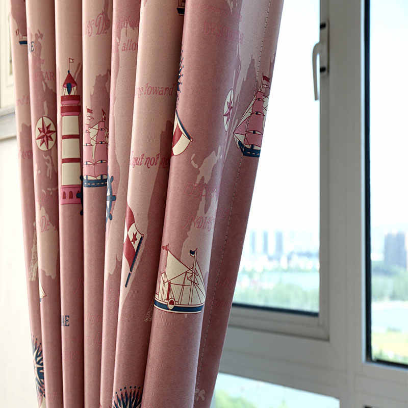 Cartoon Style Printed Curtains for Children Blackout Cloth Nursery  Tulle Curtains Cotton Kids Blinds Bedroom