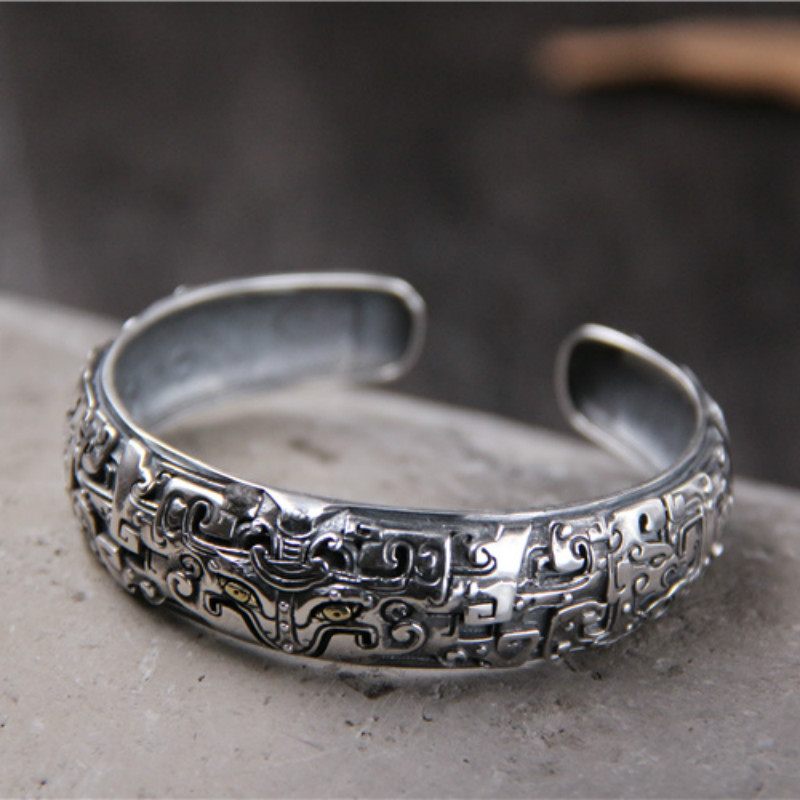 Thai Mythical Ferocious Animal Metal 925 Sterling Silver Bracelet Vintage Retro Cuff Bangle Gifts For Her Him Fashion