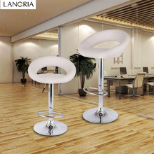 LANGRIA Set of 2 Gas Lift Height Adjustable Swivel Faux Leather Bar Stools Chairs with Crescent Shaped Backrest Bar Chairs