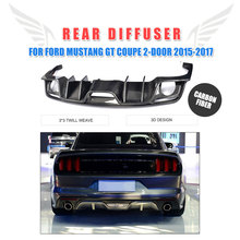 Rear Bumper Exhaust Diffuser Lip Carbon Fiber for Ford Mustang Convertible Coupe 2-Door 2015-2017 USA Market Car Accessories