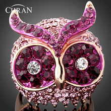 CHRAN Gold Color Rings Jewelry Classic Animal Designs Wholesale Purple Crystal Owl Head Finger Rings For Women