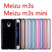 Meizu m3s mini case cover Silicone TPU case for Meizu m3s mini Four corners anti-knock Crystal colors Jet Black(China)