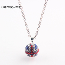 LUBINGSHINE Fashion Long Silver Chain Necklace for Women UK Flag Crystal Beads Necklace Christmas Gift Jewelry
