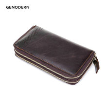 GENODERN Double Zipper Genuine Leather Men's Clutch Wallet  Vintage Long Purse Men Wallets for Male Clutch Bag for Business Man
