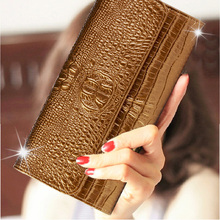 AOEO Top Fashion Ladies Alligator Wallet Crocodile Leather Money Bags Luxury Gold Red Case Magic Hasp Velcro Women Purse Female