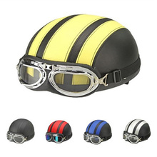 Motorcycle Helmet size 54-60CM with Goggles Sun Shield Necklet Light and Durable Protecting Head Drop Shipping(China)
