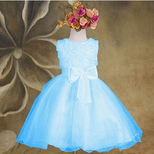 Kids Girls Princess Dress Girls Flower Bow Wedding Party Pageant Tulle Dresses