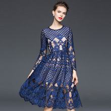 Blue Lace Dresses Korea Fashion 2017 Early Spring Hollow Women Slim Topshop Knee-Length Embroidery Incity Novelty Dress