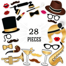 DIY Hollywood 28Pieces Photo Booth Props Wedding favor gift Birthday supplies Party fun Photography Accessories JUST married(China)