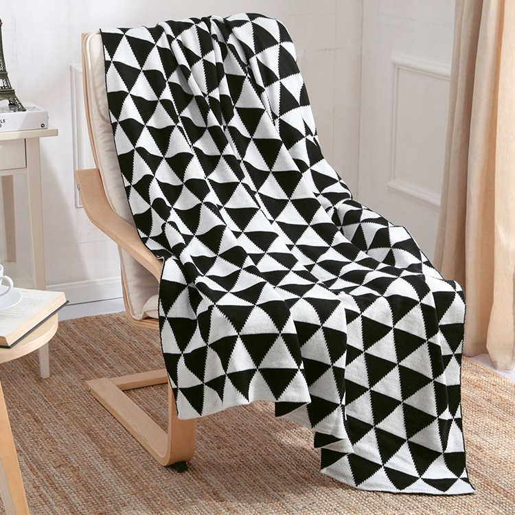 130x170cm 2016 soft knitted blanket blanket children double color mosaic geometric Soldier Sofa Throw Blankets black white gray<br>