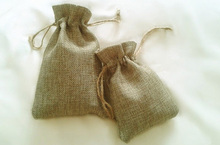 wholesale 3000pcs 7x9cm Jute Burlap drawstring Favor Bags for candles handmade soap wedding