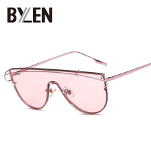BYLEN Fashion Sunglasses Women Men Flat Top Shades Brand Designer Sun Glasses Rimless Frame Eyewear Coating Mirror UV400(China)