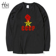HanHent Custom Design CCCP T-shirt Logo Cotton Long Sleeve USSR Russian Tshirts Black T shirts Brand Male Casual Clothing Boys