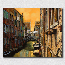 Charming city Italy landscape oil painting reproduction printed on canvas pictures for living room decoration(China)
