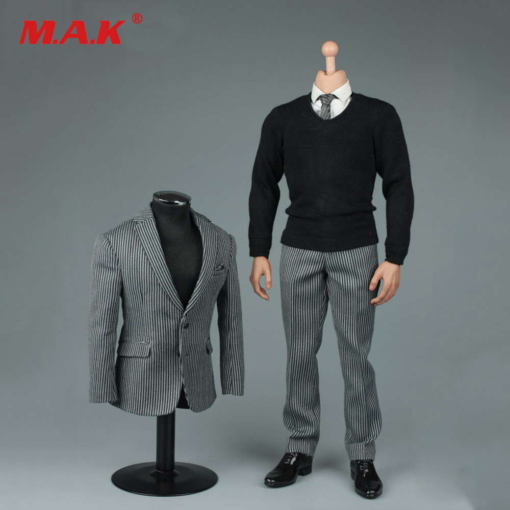 On Sale 1/6 Gentleman Clothes &amp; Leather Shoes Fashion Trend Striped Suit Set for 12 inches Male Action Figures<br>