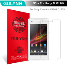 Buy 2Pcs/Lot GULYNN Amazing 2.5D 9H Tempered Glass Sony Xperia M C1904 C1905 Screen Protector Glass Film Tough Package for $3.77 in AliExpress store