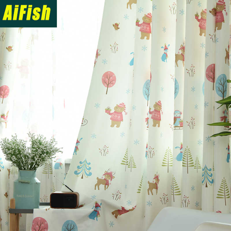 Animal Print Curtains for Living Room the Bedroom Tulle Window Curtains for children room Fabric Drapes Home Decoration wp029&40