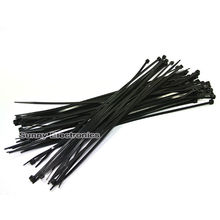 "100Pcs 8"" Black Self-Locking Plastic Cable Zip Ties Cable Loop Ties"