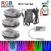 RGB LED Strip light 5050 LED Fita 5050 RGB Set 12 meter strip LED RGB Stripe Neon + Wifi RGB LED Controller With DC12 adapter eu(China)