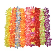 Party Beach Tropical Flowers Necklace Hawaiian Luau Petal Leis Festival Party Decorations Wedding Supplies 1PCs Free Shipping(China)