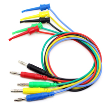 5pcs/lot,5 Color ,50cm/pcs TL520 16AWG1.27mm2 flexible silicone 4mm unshrouded bananna Plug to test hook clip test cable(China)