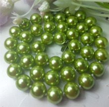 Beautiful 10mm Green Ocean Shell Pearls Necklace Hand Made Rope Chain Beads Fashion Jewelry Natural Stone (Minimum Order1)