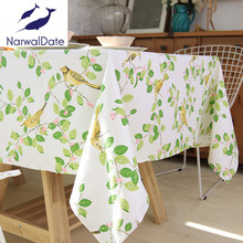 New arrivals Happy Zero table cloth with green leaves universal rectangular tablecloths dustproof for wedding home use hot sale