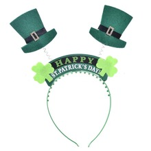 High Quality Fabric Hairbands With Spring For Kid Girl St.patrick's Day Clover Headband Hair Accessories