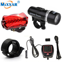 RUZK20 5 LED Bike Cycling Light Head and Rear Lamp Light  Bicycle Speedometer Computer and Bicycle Bell Super Accessories Set