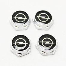 KUNBABY 4PCS Car Accessories LOGO Thread License Plate Frame Bolts Screws Chrome Universal For Opel Astra H G Corsa Insignia