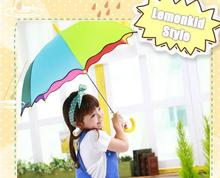 2017 NEWS Children's Environmental Cartoon Child Umbrella Rainbow Fight Color Umbrella Semi-automatic umbrella
