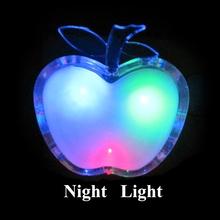 Beautiful Colorful LED Apple Night Light US Plug Bedside Lamp LED Energy-saving Wall Lamp Nightlight for Children Gift