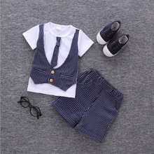 2017 Hot Boys summer clothes sets children letter T-shirt pants kids handsome suits
