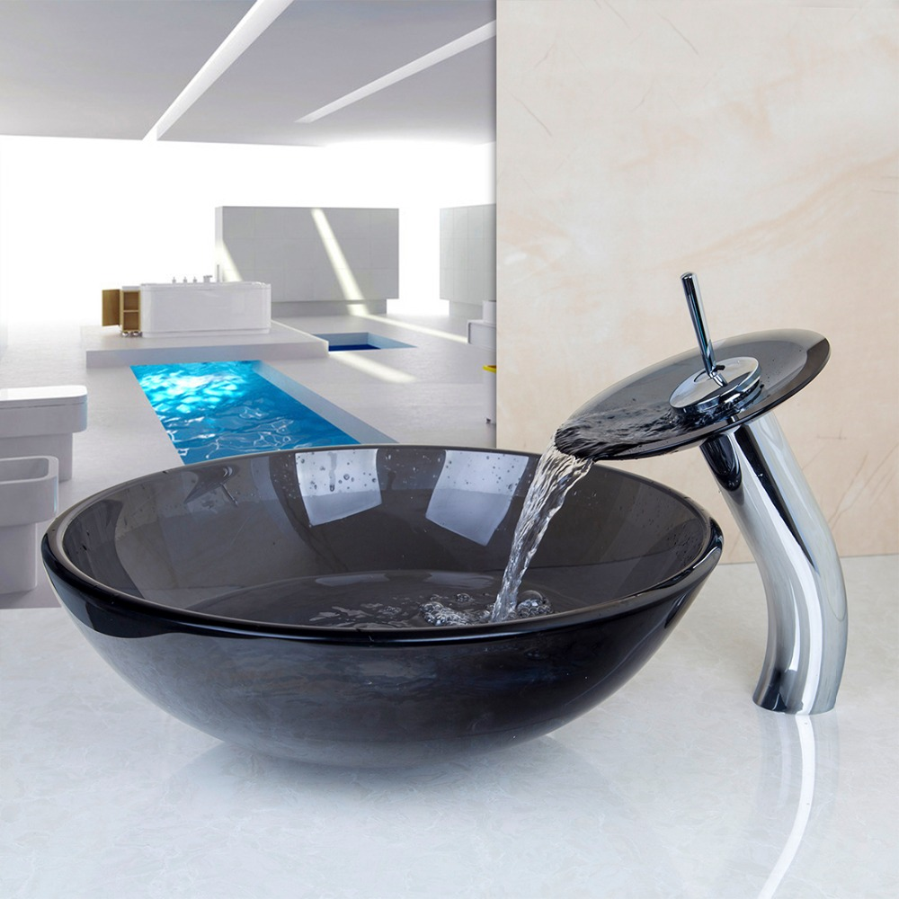US Round Bathroom Sink Faucet Vessel Sink Tempered Glass Drain Combo Set Pop-up Vanity Waterfall Match Round Counter Top Bowl<br><br>Aliexpress