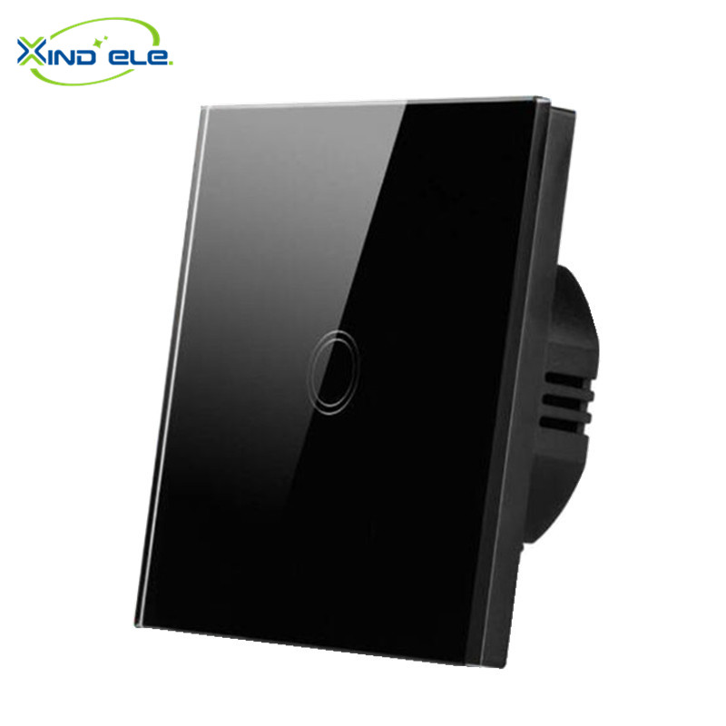 XIND ELE Standard EU UK Touch Switch 1 Gang 110-250V Wall Swith Toughened Luxury Crystal Glass Panel 2 Colors Available, XDTH01<br><br>Aliexpress