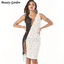 Beauty Garden 2017 Sexy Fashion Vintage Dress vestidos Elegant Sleeveless Sheer Slim Lace Dress Eevening Party Club Dress(China)