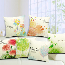 Beautiful Flowers Print Best Quality Home Sofa Bed Decorative Cushion Cover Outer Garden Chair Throw Pillow Happy Life Coussin(China)