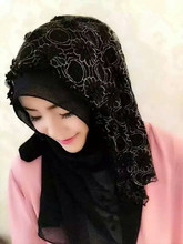 2017 New lace floral scarf women party /wedding hijab Ramadan gift(China)