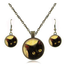 vintage black cat necklace and earrings sets kitty cat art picture pendant glass dome necklace women jewelry set costume jewelry