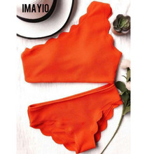 Imayio Sexy one shoulder bikini shell swimsuit wave edge bikini set orange women bathing suit brazilian swimwear beach wear