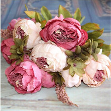 Home Artificial Flowers Silk flower European Fall Vivid Peony Fake Leaf Wedding Home Party Decoration