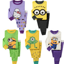 2017 New Children's Long Sleeve Cartoon Pajamas Boys Girls Sleepwear Homewear Clothing Sets YY0823