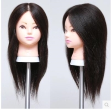 "Free delivery!! Professional 18"" human hair Beautiful Hairdressermakeup practice head,can be cut fine M00607 GIFT(China)"