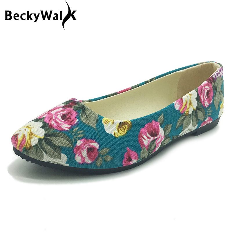 Women Shoes Ballet Large-Size 42 Mujer WSH2223 Loafers Flats Flower-Print Zapatos