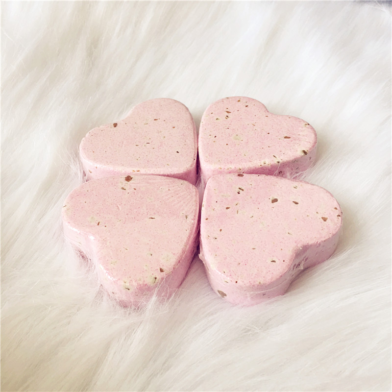 Home Hotel Pink Rose 70g Heart Bathroom Bath Ball Bomb Aromatherapy Type Body Cleaner Handmade Bath Salt with Flower Gift(China (Mainland))