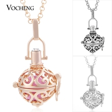 20pcs/lot Vocheng Angel Locket 3 Colors Ringing Pendant Necklace Perfume Diffuser Locket with Stainless Steel Chain VA-209*20