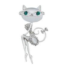 2017 new fashion opal and rhinestone wear glasses cat brooches cute and sexy cat pins and brooches wedding accessories