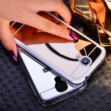 New Luxury Acrylic Soft TPU Protective Phone Back Cover Ultra Slim Mirror Case For Samsung Galaxy S4 I9500 S5 S3 Note 2 3 4 5 7